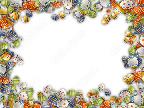 Easter eggs border isolated on white background.