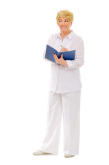 Senior woman with notepad