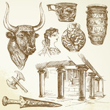 ancient crete - hand drawn set