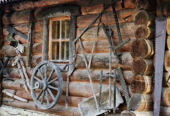 Facade of ancient wooden log hut
