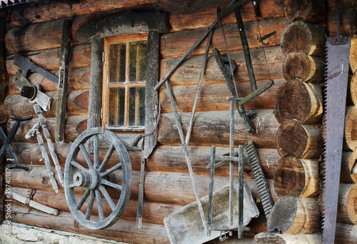 Facade of ancient wooden log hut