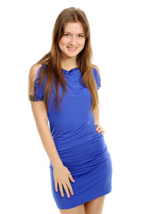 woman in a dark blue dress