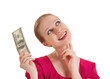 cheerful dreamy girl in a red blouse holds the money, American d