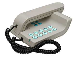 stylish simple grey office phone with blue knobs isolated over w
