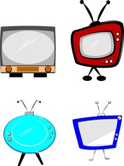 retro televisions over white