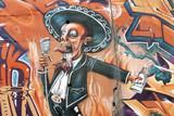 Fototapety Graffiti de un hombre cantando, arte urbano