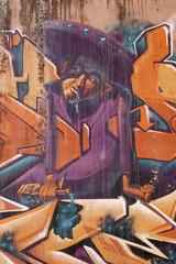 Graffiti de un hombre borracho, arte urbano