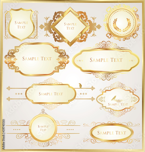 Decorative golden ornate elements