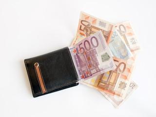 cartera con billetes de euros