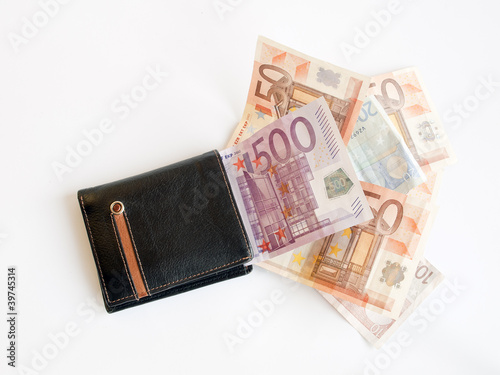 cartera con billetes de euros
