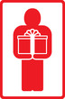red sign with standing man and gift