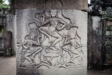 Carving of apsara dancers Angkor Wat
