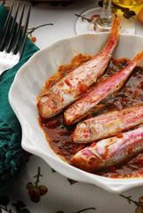 Triglie al pomodoro Mullets in tomate sauce