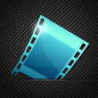 Empty blue camera film roll, vector illustration