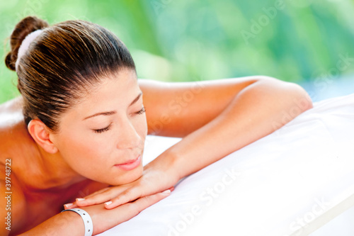 Relaxed woman at a spa