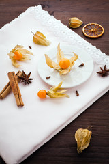 physalis and spice over napkin