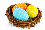 Easter eggs in a nest on a white background.