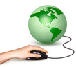 Hand with computer mouse and green globe