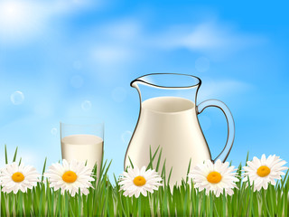 Glass of milk and jar on the on a daisy background