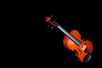 violin lies on black background