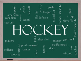 Hockey Word Cloud Concept on a Blackboard