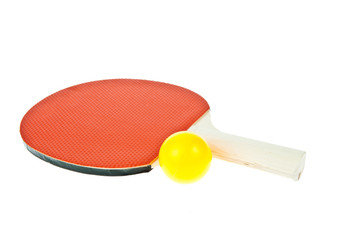 Table tennis racket and ball isolated on white background