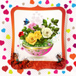 Flowerpot with roses, hearts and butterflies