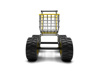 Shopping basket with big wheels on a white background