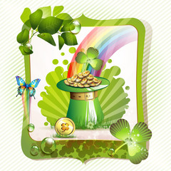 St. Patrick's Day card design with hat and coins