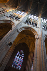 Looking up at the nave ceiling in Saint Gatien cathedral