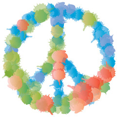 Symbole Peace and Love - Taches colorées
