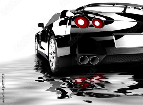 czarny-samochod-odzwierciedlenie