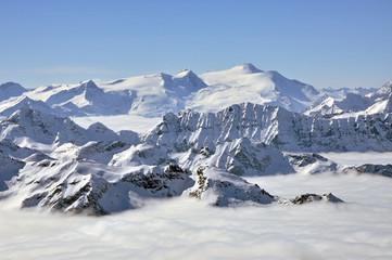 Winter view from Kitzsteinhorn peak ski resort, Austrian Alps