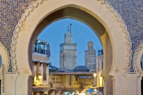 Canvas Marokko Bab Bou Jeloud gate at Fez, Morocco