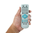Hand holding TV remote control isolated on white background poster