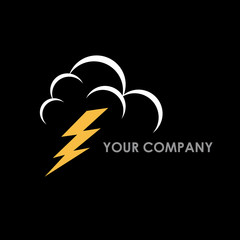 Logo lightning on a black background # Vector