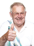 Pleasant pensioner shows thumb up poster