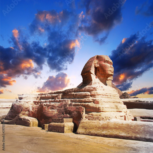profile of the Great Sphinx , giza egypt