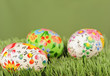 Decorated easter eggs on yellow background