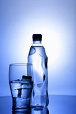 Ice and glass. Spring purified water still life poster