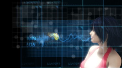 young woman with butterfly on hi-tech backdrop and alpha channel