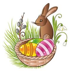 Ostern, Ostereier, Eier, Osterkörbchen, Frühling, Osterhase