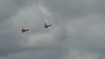Antique airplanes in chase