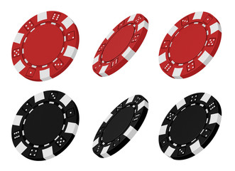3d rendered red and black casino chips from different angles