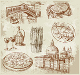 Fototapety hand drawn Venice set