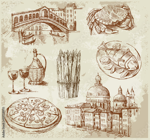 Plakat ręcznie rysowane zestaw Wenecja