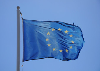 Flag of the European Union waving in the wind