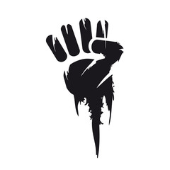 Black and white clenched hand fist painting protest illustration