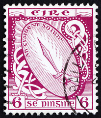Postage stamp Ireland 1922 Sword of Light