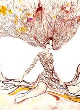 blommande kvinna